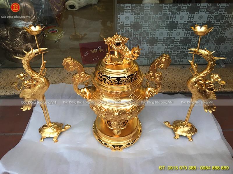 Bộ Tam Sự Đỉnh Hạc Dát Vàng cao 60cm