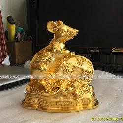 con chuột dát vàng 17cm phong thuỷ