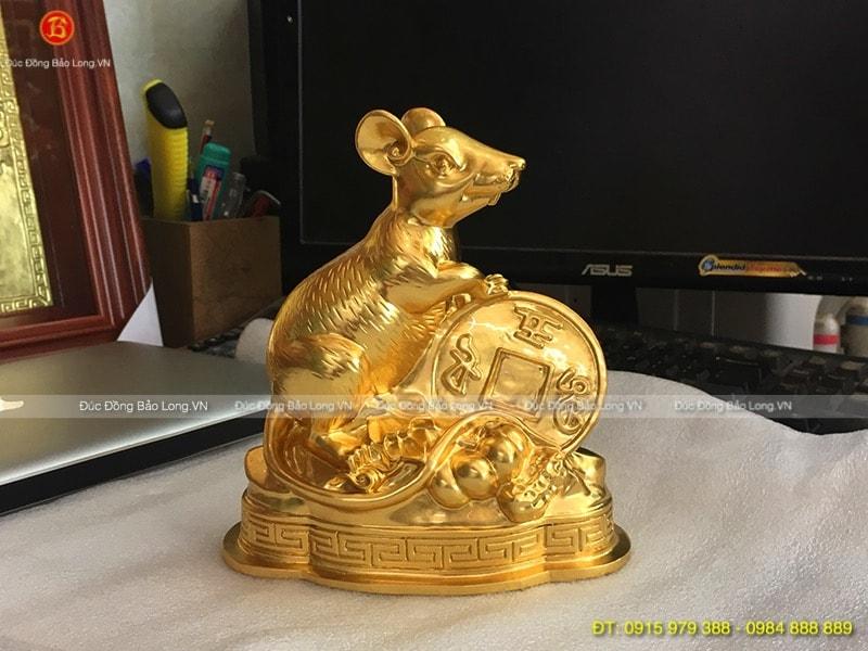 Con Chuột Dát Vàng 9999 cao 18cm