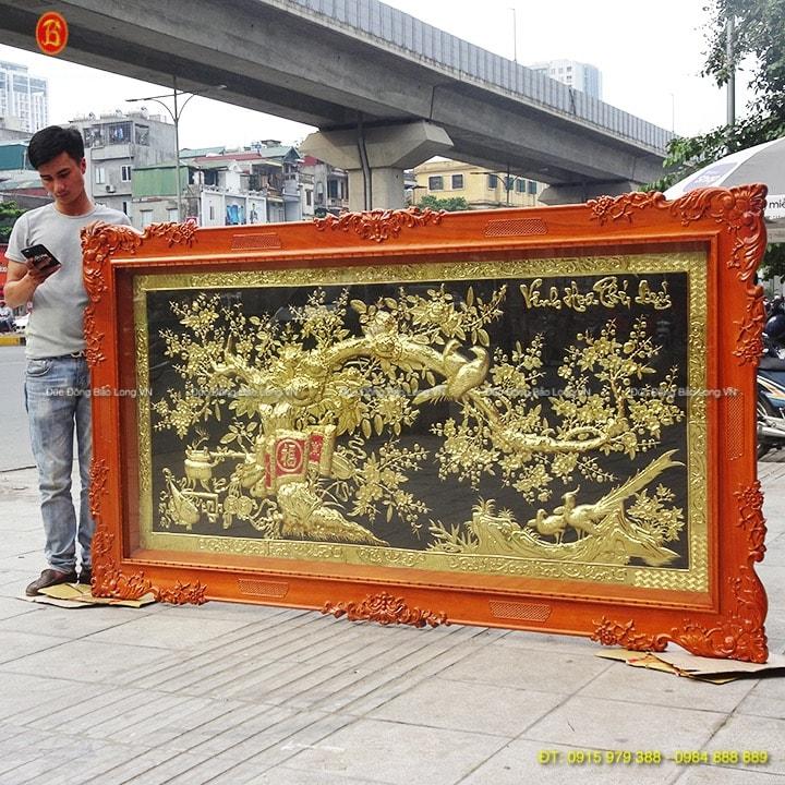 Tranh Vinh Hoa Phú Quý khung gỗ Gõ 2m37