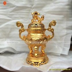 đỉnh đồng thờ cúng dát vàng