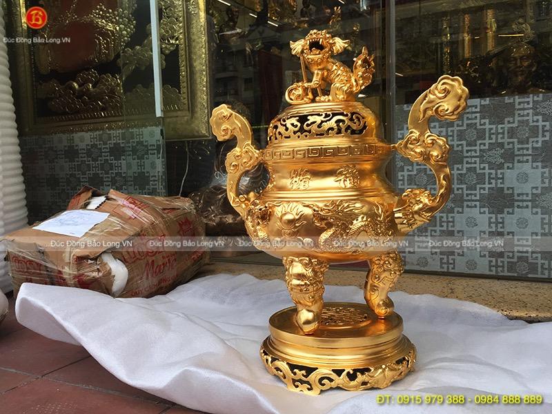 đỉnh thờ rồng nổi dát vàng