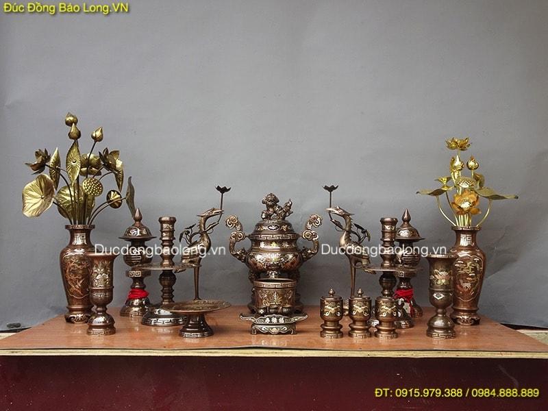 Bộ đồ thờ bằng đồng tại quận Hoàng Mai, bộ đồ thờ bằng đồng khảm tam khí