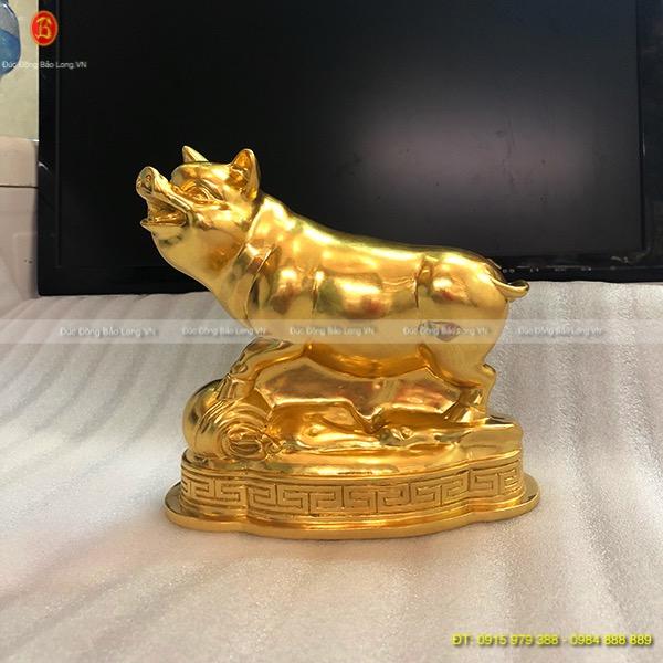 Con Lợn Dát Vàng lá 9999 đẹp cao 16cm