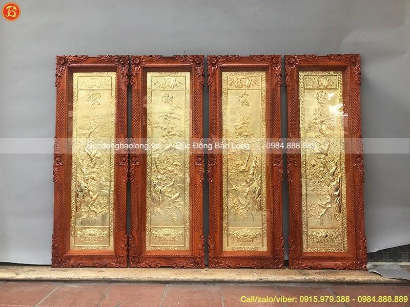 tranh tứ quý khung gỗ hương