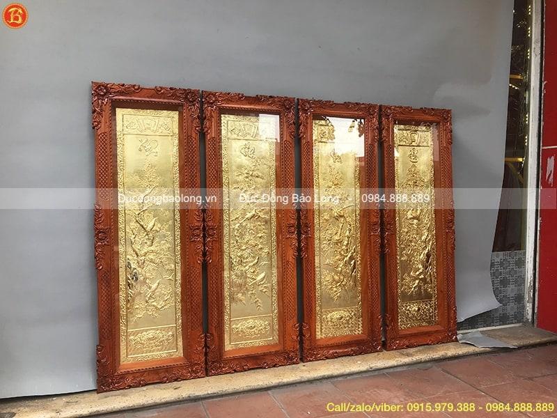 Tranh Tứ Quý Mạ Vàng 1m27 khung gỗ Hương
