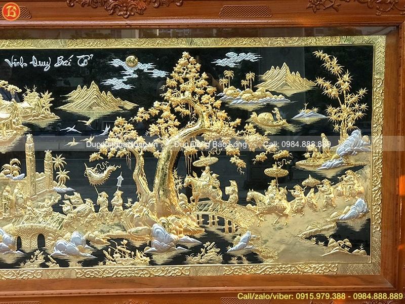 Tranh Vinh Quy Bái Tổ khung gỗ Gõ 1m97
