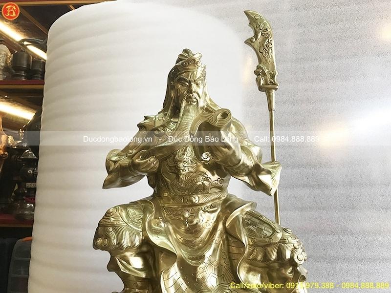 Tượng Quan Công đọc sách bằng đồng cát tút 48cm
