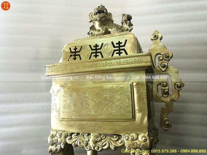 Đỉnh Vuông Tai Triện bằng đồng cát tút 60cm