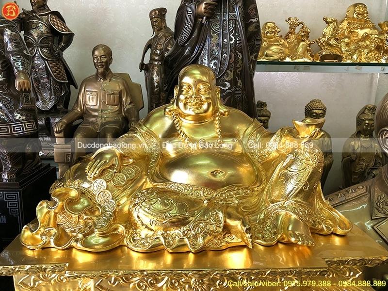 Tượng Di Lặc Dát Vàng ngồi bệ cao 33cm