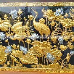 tranh hoa sen chim hạc