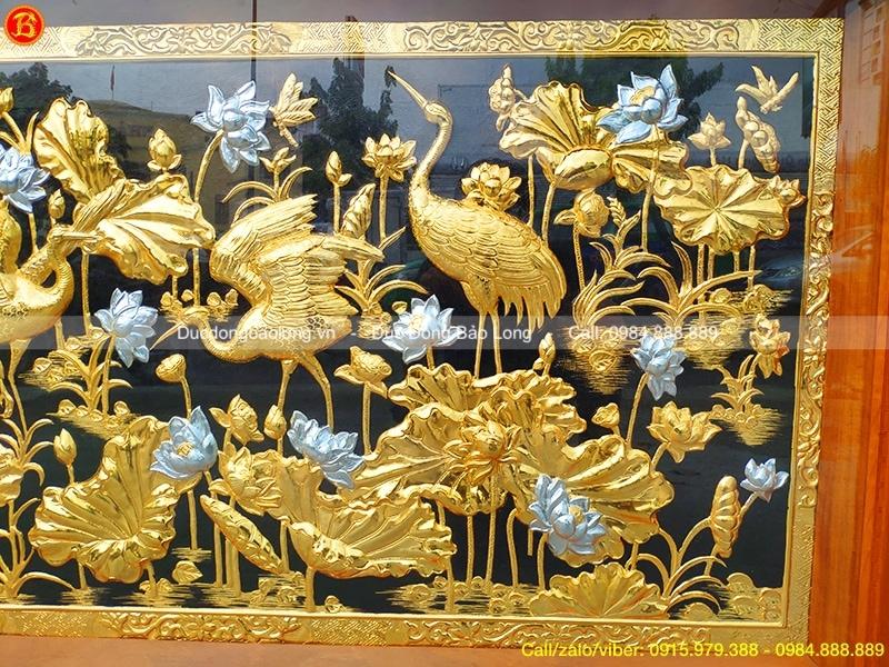 Tranh Sen Hạc mạ Vàng, dát Bạc 1m55