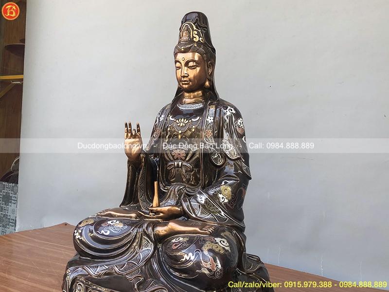 Tượng Phật Bà bằng đồng 61cm khảm tam khí