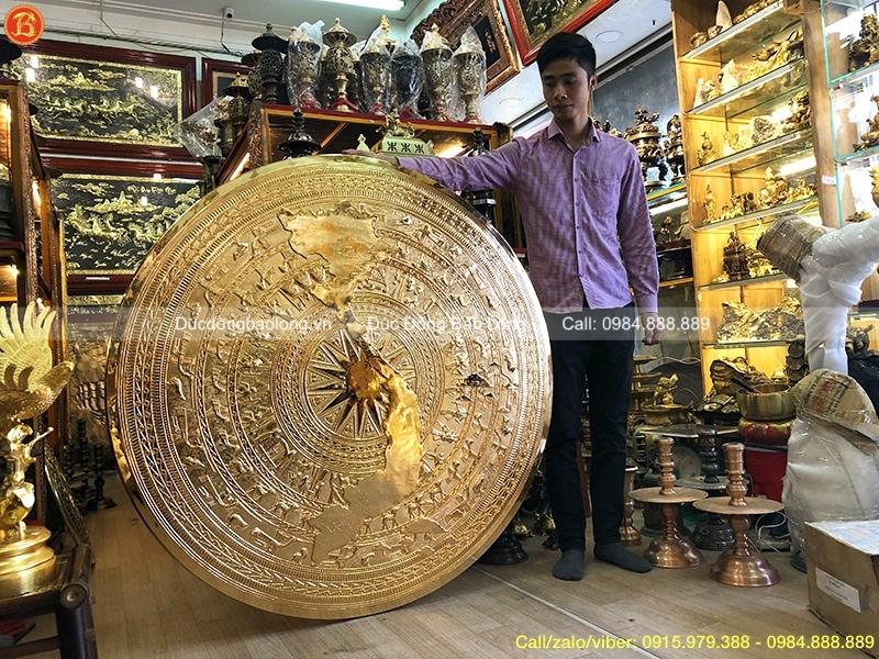 mặt trống đồng mạ vàng 1m33
