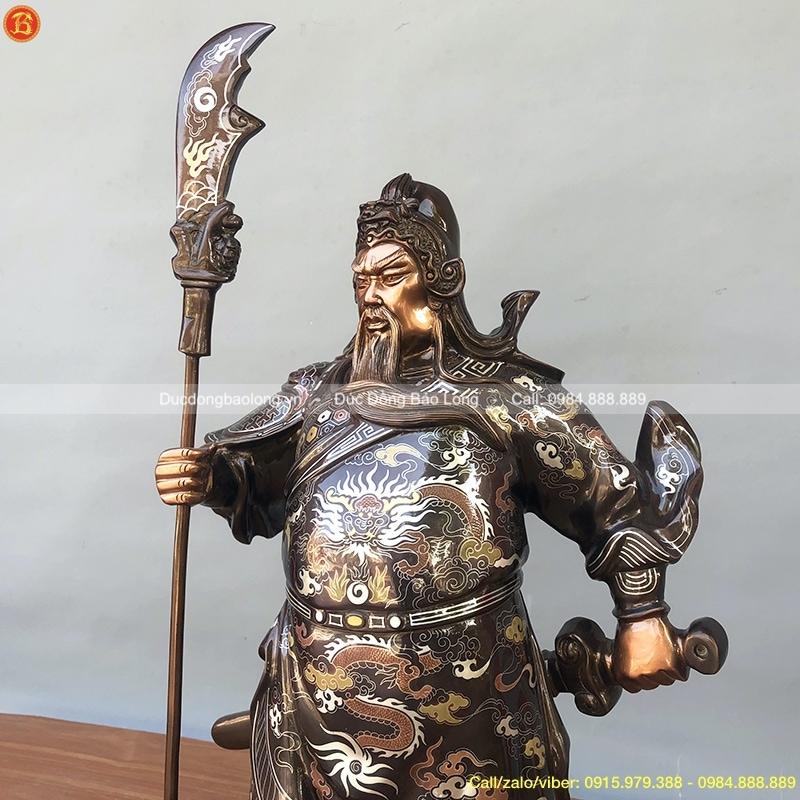 Tượng Quan Công chống đao cao 61cm