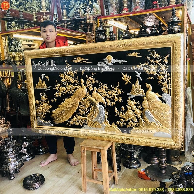 Tranh Ngọc Đường Phú Quý 1m55 mạ Vàng dát Bạc