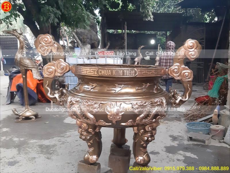 Lư Hương Đồng Rồng Chầu cao 1m27