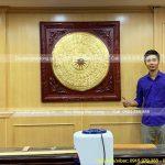 Treo Tranh Mặt Trống Đồng 1m07 mạ vàng ở Agribank Hà Nội