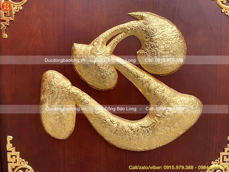Tranh chữ Tâm khung Gỗ mạ vàng 24k