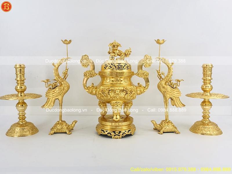đồ thờ ngũ sự dát vàng