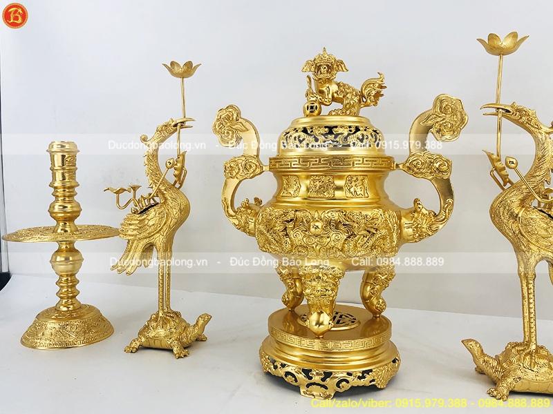 Đồ Thờ Ngũ Sự Dát Vàng 9999 cao 60cm