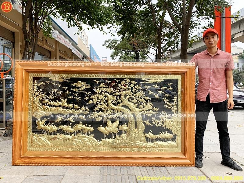 Tranh Bách Hạc Quần Tùng 2m33, khung gỗ Gõ