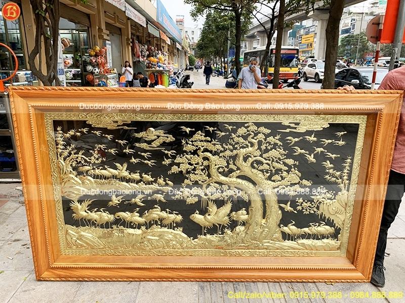 tranh bách hạc quần tùng khung gỗ gõ