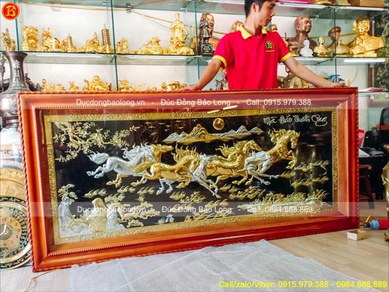 Tranh Bát Mã 2m17 mạ Vàng 24k, dát Bạc