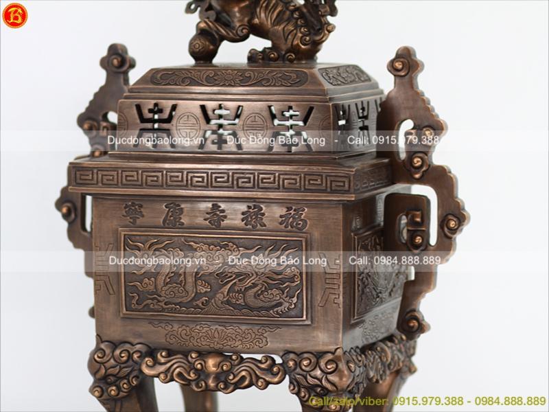 Đỉnh Đồng Vuông Hun Giả Cổ cao 60cm