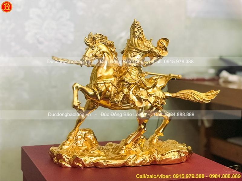 Tượng Quan Công Cưỡi Ngựa dát vàng cao 22cm