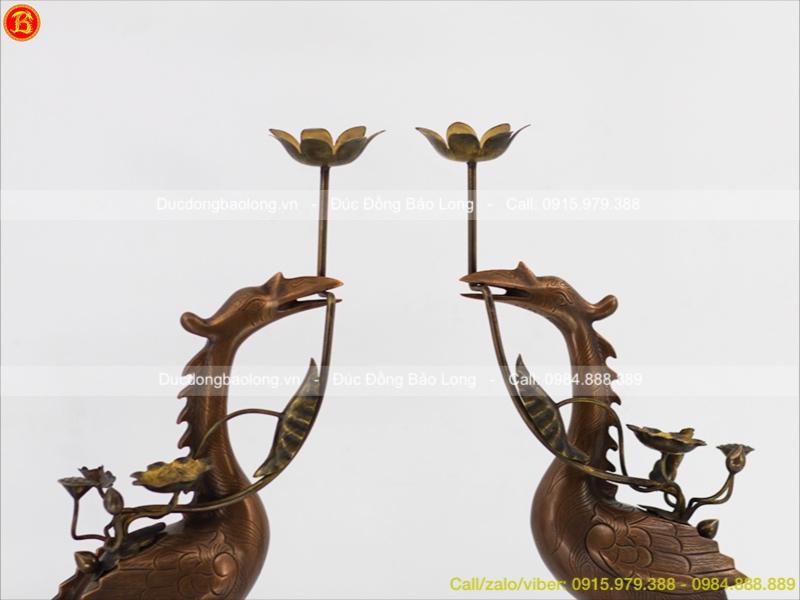 Hạc Đồng Đỏ Hun Giả Cổ cao 60cm