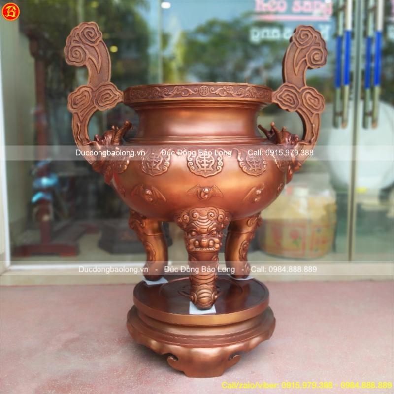 Lư Hương Đồng Đỏ cao 1m17 cho Đền Chùa
