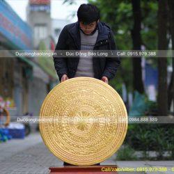 mặt trống đồng dát vàng 90cm