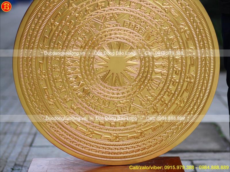 Mặt Trống Đồng Dát Vàng 90cm Đúc Thủ Công Tinh Xảo