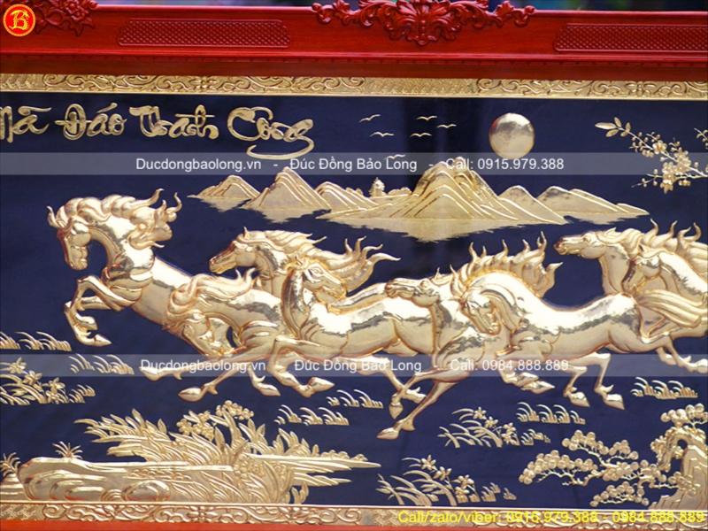 Tranh Đồng Bát Mã Mạ Vàng Khung Gỗ Hương 1m97