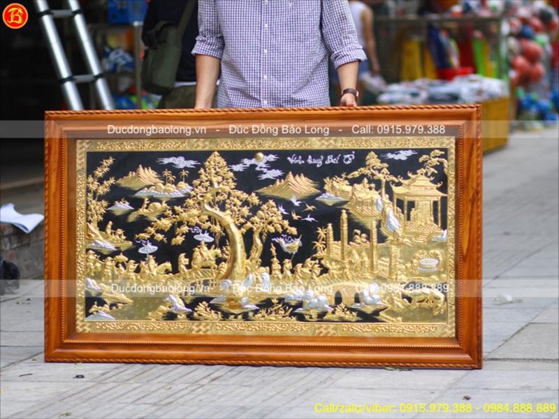 Tranh Vinh Quy Bái Tổ Đồng Đẹp 1m76 Mạ Vàng Dát Bạc