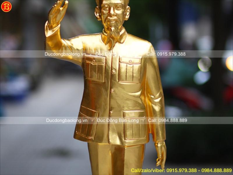 Tượng Bác Hồ Dát Vàng Đứng Cao 85cm