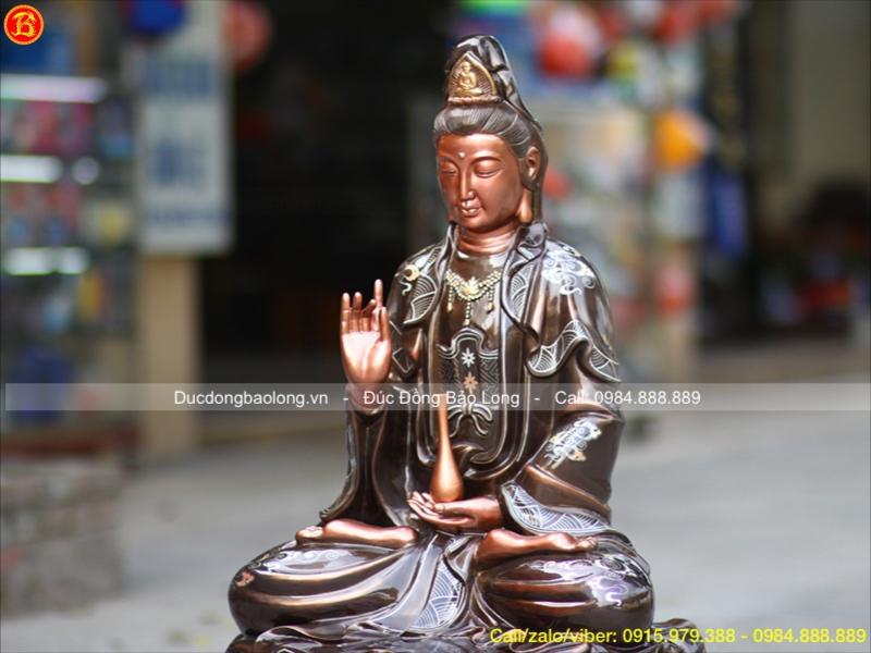 Tượng Phật Quan Âm ngồi đài sen 89cm