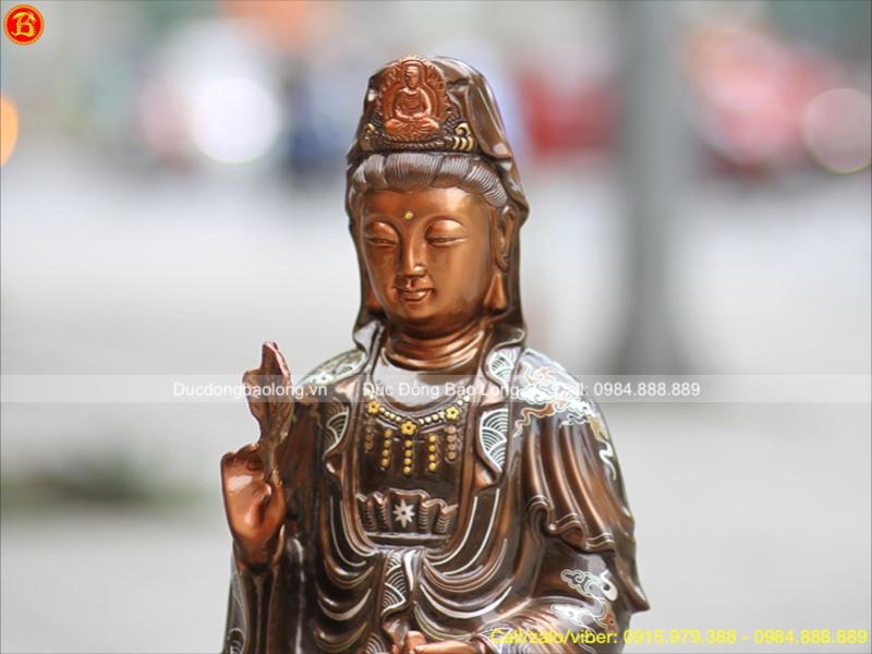 Tượng Đồng Phật Bà Quan Âm 38cm Khảm Tam Khí