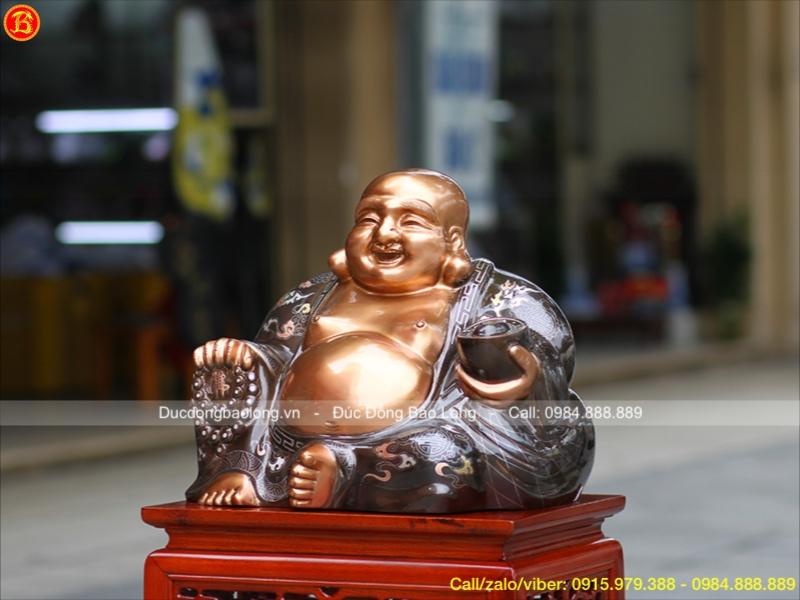 Tượng Phật Di Lặc Đồng Đỏ Khảm Tam Khí cao 35cm