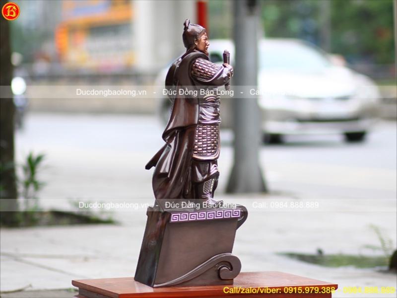 Tượng Trần Quốc Tuấn Bằng Đồng Khảm Ngũ Sắc 70cm