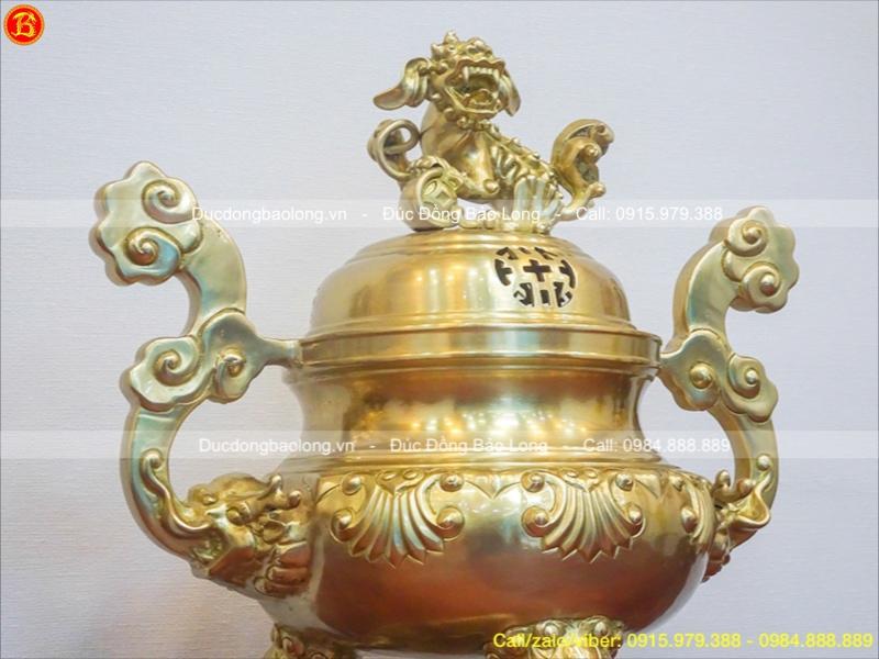 Đỉnh Thờ Bằng Đồng Vàng Hoa Sòi cao 50cm