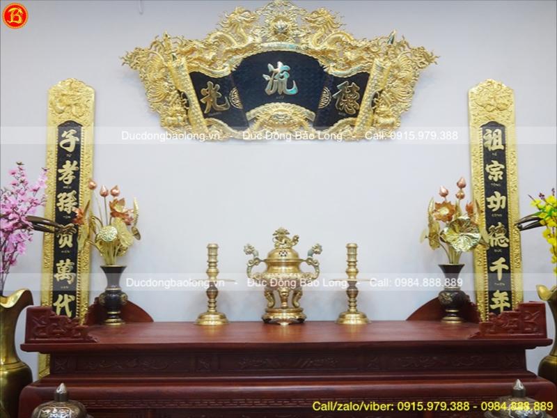 Bộ Tam Sự Bằng Đồng Vàng Đỉnh Nến Cao 50cm