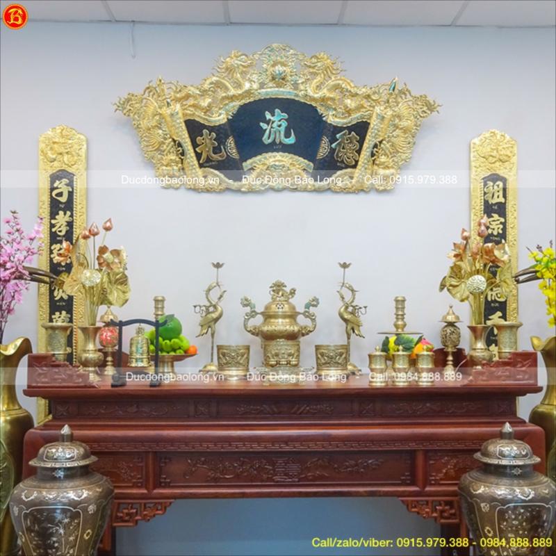 Đồ Thờ Bằng Đồng Vàng Bộ Đầy Đủ Cao 50cm