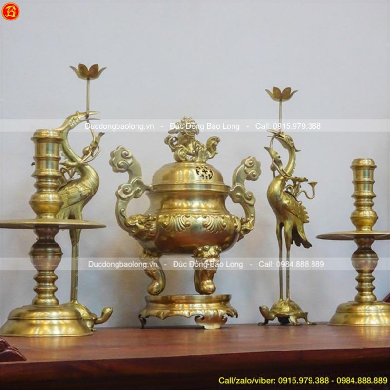 Bộ Ngũ Sự Bằng Đồng Vàng Cao 50cm Đỉnh Sòi