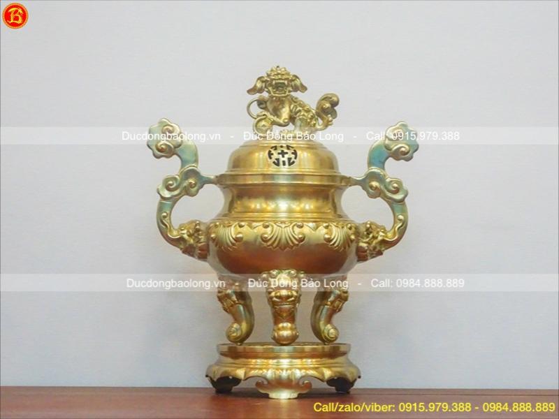 đỉnh thờ đồng vàng