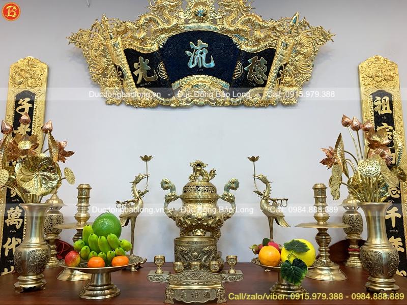 Bộ Đồ Thờ Bằng Đồng Vàng Đỉnh Rồng Nổi 60cm