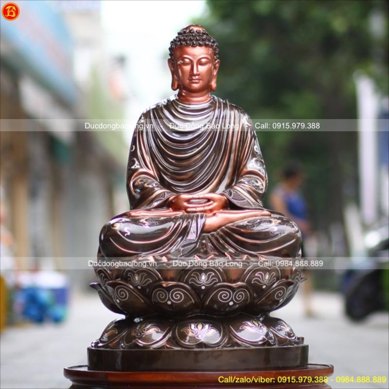 Tượng Phật Thích Ca Đồng Khảm Tam Khí cao 81cm