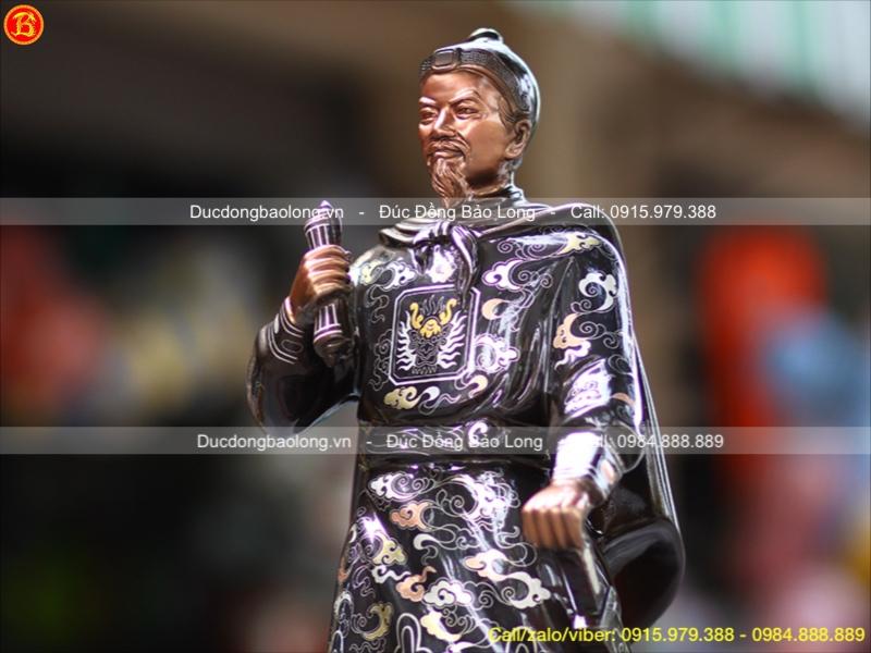 Tượng Trần Quốc Tuấn Đồng Đỏ Khảm Tam Khí 69cm