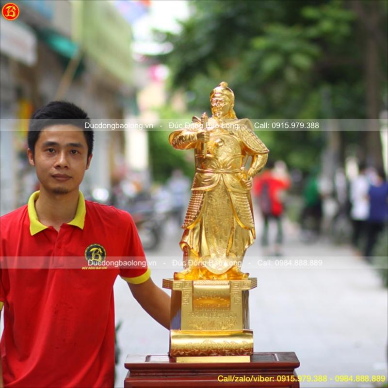 Tượng Đồng Dát Vàng Trần Quốc Tuấn Bệ Thuyền 80cm